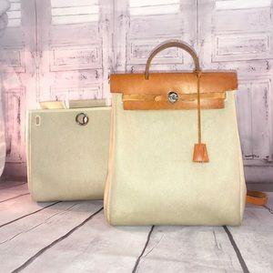 HERMES Hermès Toile Herbag Backpack + 2nd Bag